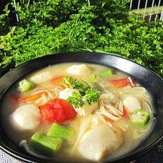 鱼丸豆腐味噌汤的做法