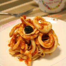 鱿鱼圈番茄酱意粉
