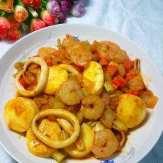蔬菜海鲜茄汁日本豆腐