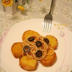 酥炸带子拌番茄酱意粉