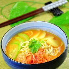 韩国泡菜酱汤拉面的做法