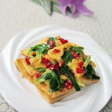 韭菜鸡蛋炒豆腐的做法