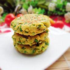 豆渣韭菜玉米饼