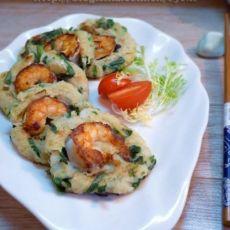 韭香鲜虾煎藕饼