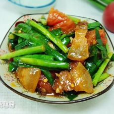腊肉番茄炒韭菜
