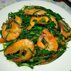 韭菜炒基尾虾的做法