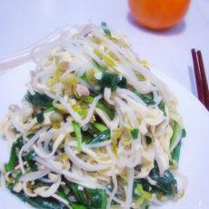 素炒豆芽干豆腐韭菜的做法