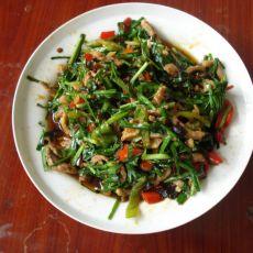 韭菜老干妈干汁肉丝的做法