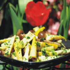 荠菜炒春笋蟹味菇的做法