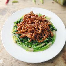 肉丝酱拌菠菜
