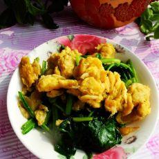 菠菜虾皮炒鸡蛋的做法