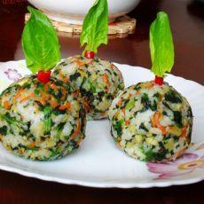 多彩菠菜饭团