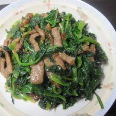 菠菜炒肉丝的做法