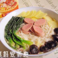 上汤香菇青菜火腿煨面的做法