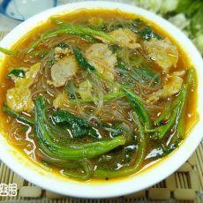 菠菜粉丝肉片汤