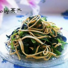 干豆腐炝菠菜