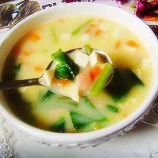 玉米豆花汤的做法