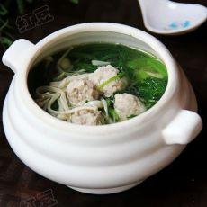 金针菠菜肉圆汤