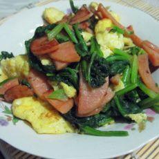 菠菜香肠炒鸡蛋