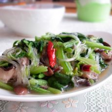 香菇菠菜炒粉丝