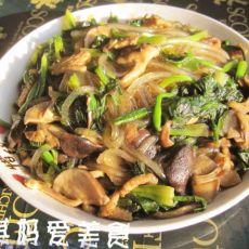 香菇菠菜炒粉条的做法