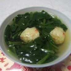 菠菜虾丸汤的做法