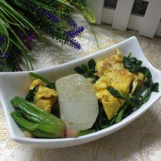菠菜鸡蛋炒年糕