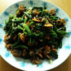 菠菜拌毛蚶子