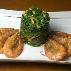 酥虾菠菜塔