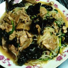 豆芽黑木耳炒瘦肉猪肝的做法