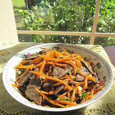 猪肝炒红萝卜丝的做法
