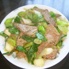 大蒜叶炒猪肝