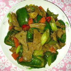 大葱青椒炒猪肝的做法