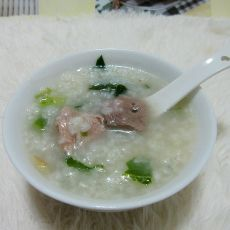 菜心猪肝咸骨粥