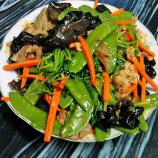 荷兰豆炒猪肝瘦肉的做法