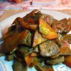 胡萝卜炒猪肝