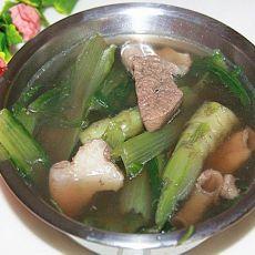 猪肝粉肠麦菜汤
