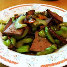 西芹猪肝炒毛蚶子的做法