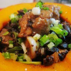 豆豉排骨南瓜盅的做法