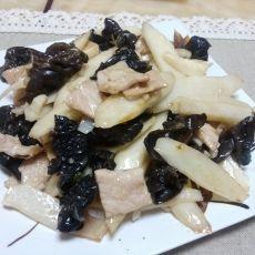 山药木耳炒肉片的做法