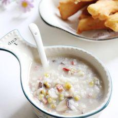 香菇米肠绿豆粥