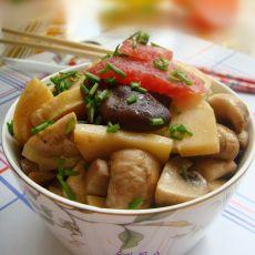 冬笋香肠炒菌菇的做法