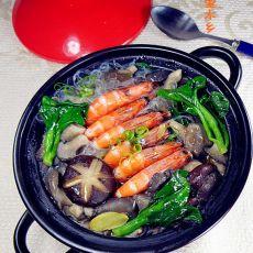 鲜虾蘑菇粉丝煲的做法