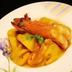 香菠炒大虾的做法