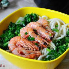 青菜鲜虾汤面的做法