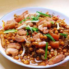 梅菜黄豆焖花腩的做法