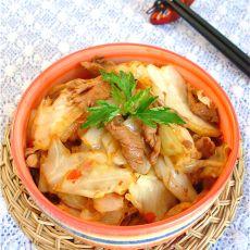 干锅包菜肉片的做法