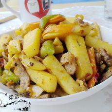 土豆条炒肉片