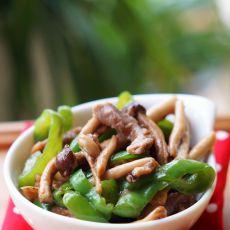 茶树菇青椒炒肉的做法