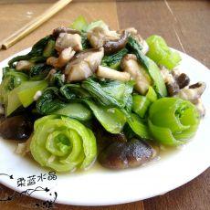 花样香菇炒油菜的做法